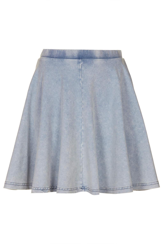 topshop denim look skater skirt in blue lyst