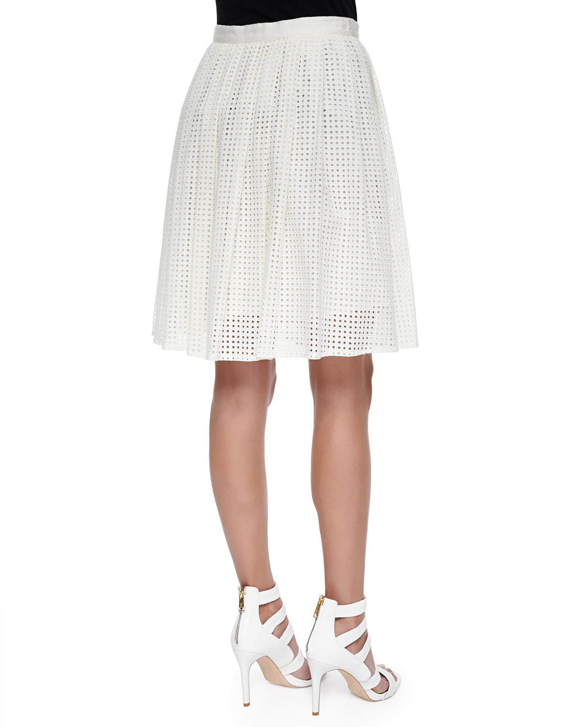 joie lissome pleated eyelet a line skirt in lyst