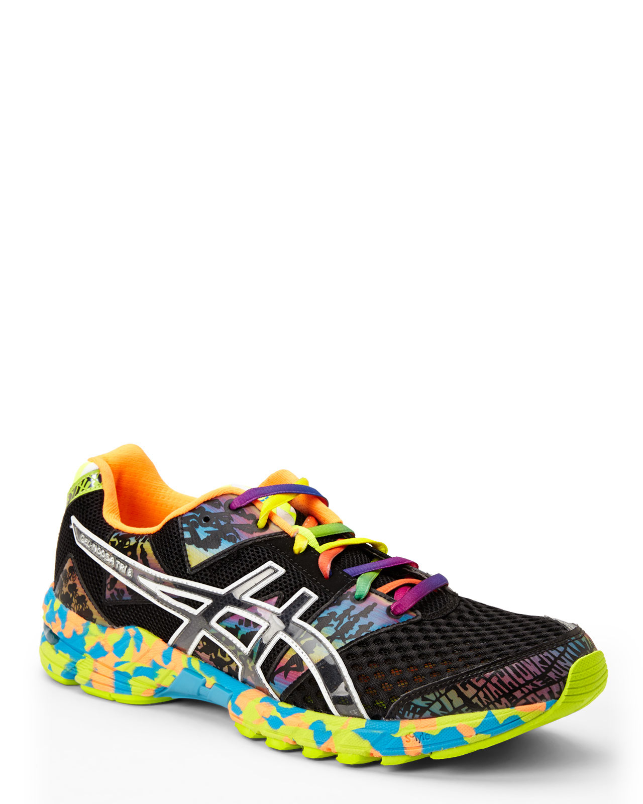 Black Gel Nails With One Silver Glitter Nail: Asics Black & Multicolor Gel-Noosa Tri 8 Sneakers In Black
