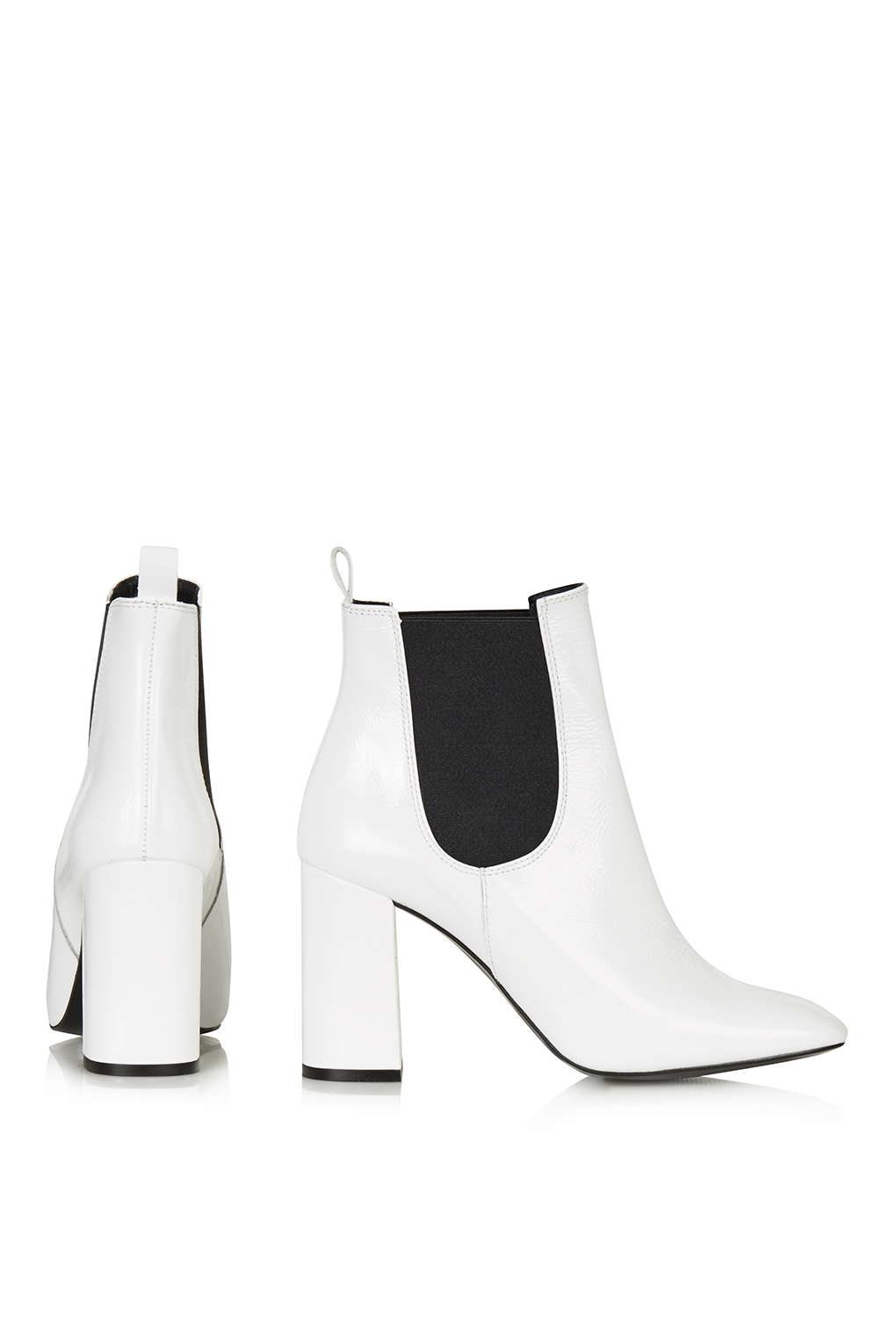topshop flared heel chelsea boots in white lyst