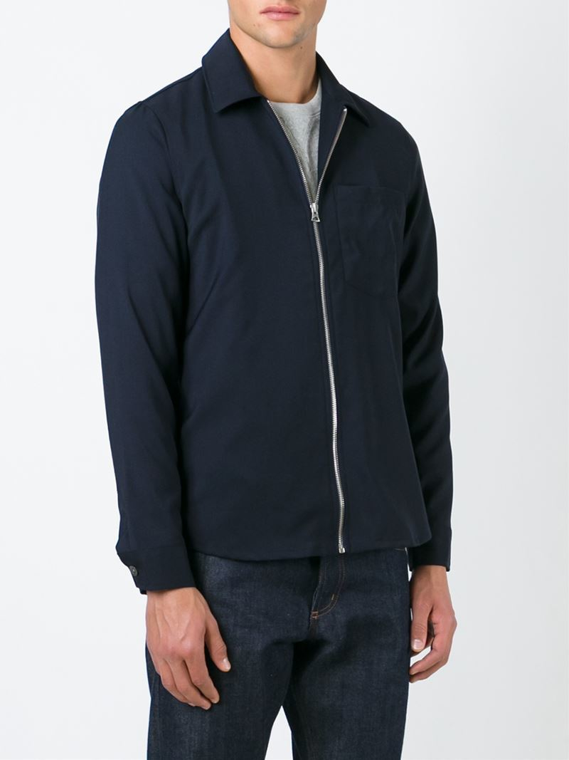 Lyst Our Legacy Zipped Shirt Jacket In Blue For Men