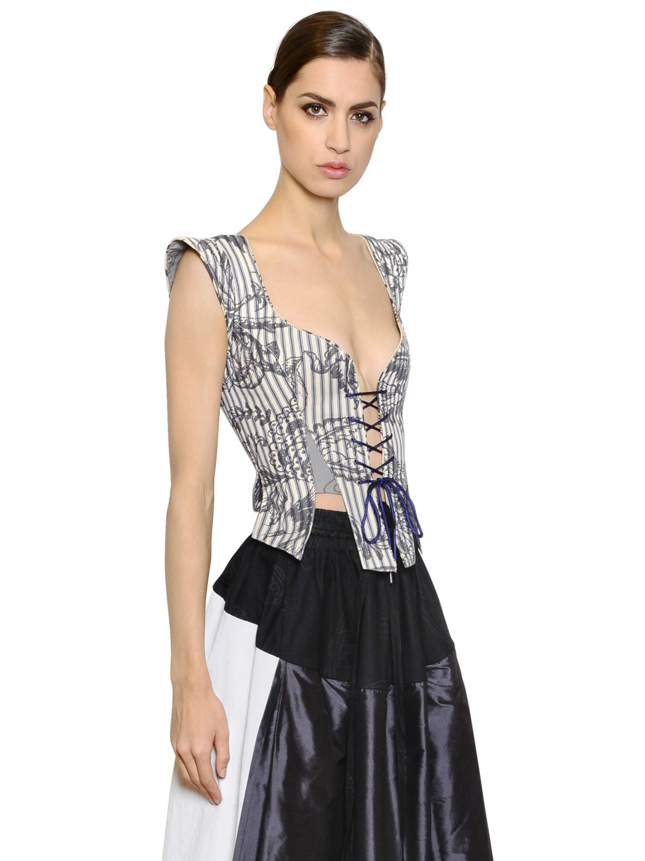 Flower Print Bustier Top With Zipper Side Bikini | SHEIN |Printed Bustier Top