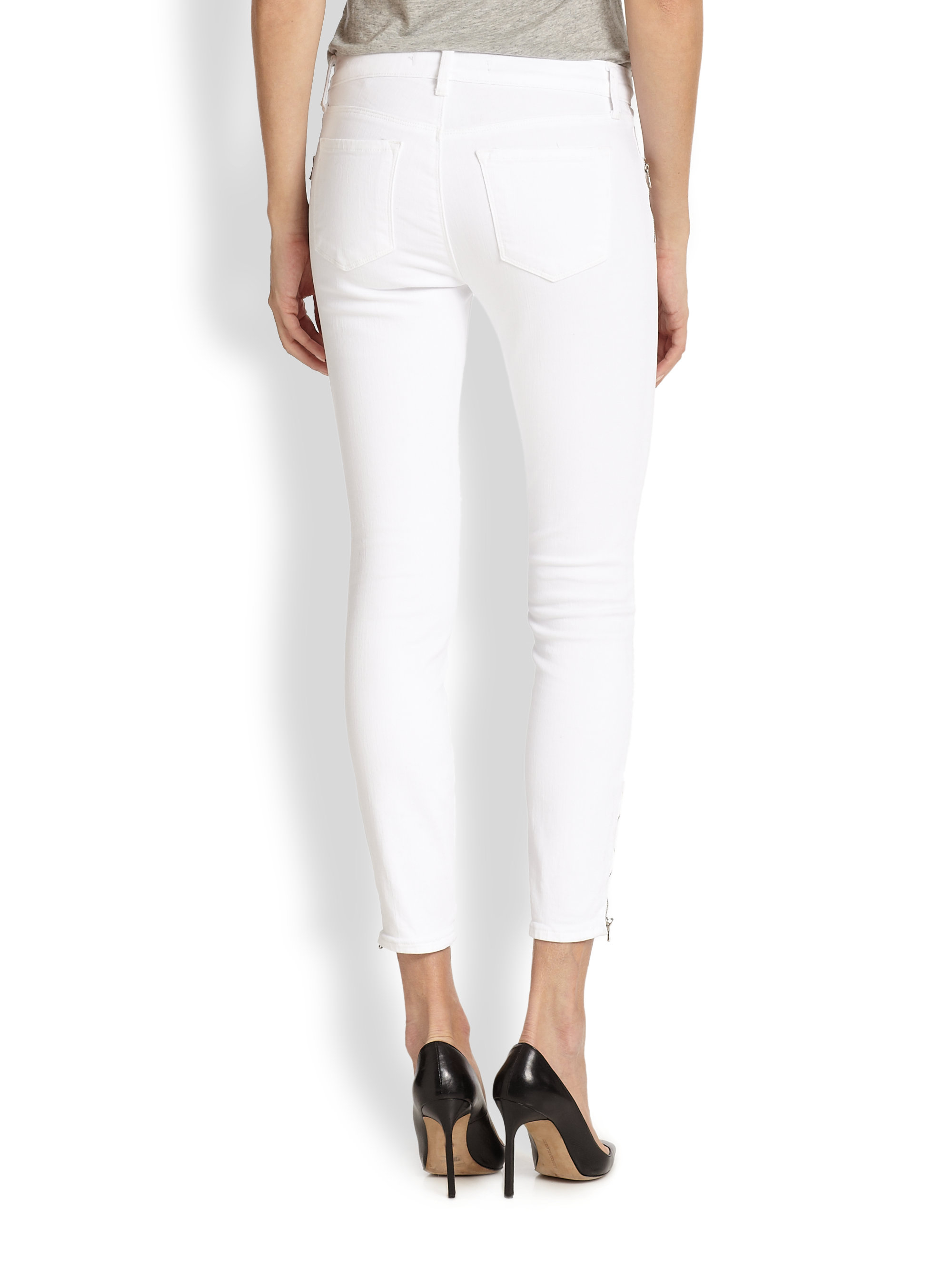 J brand Tali Zip-Detail Cropped Skinny Jeans in White | Lyst