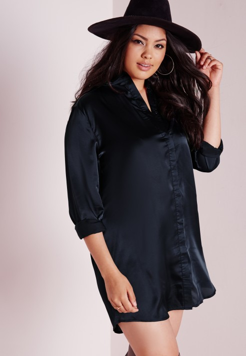 Lyst - Missguided Plus Size Silk Shirt Dress Navy in Blue