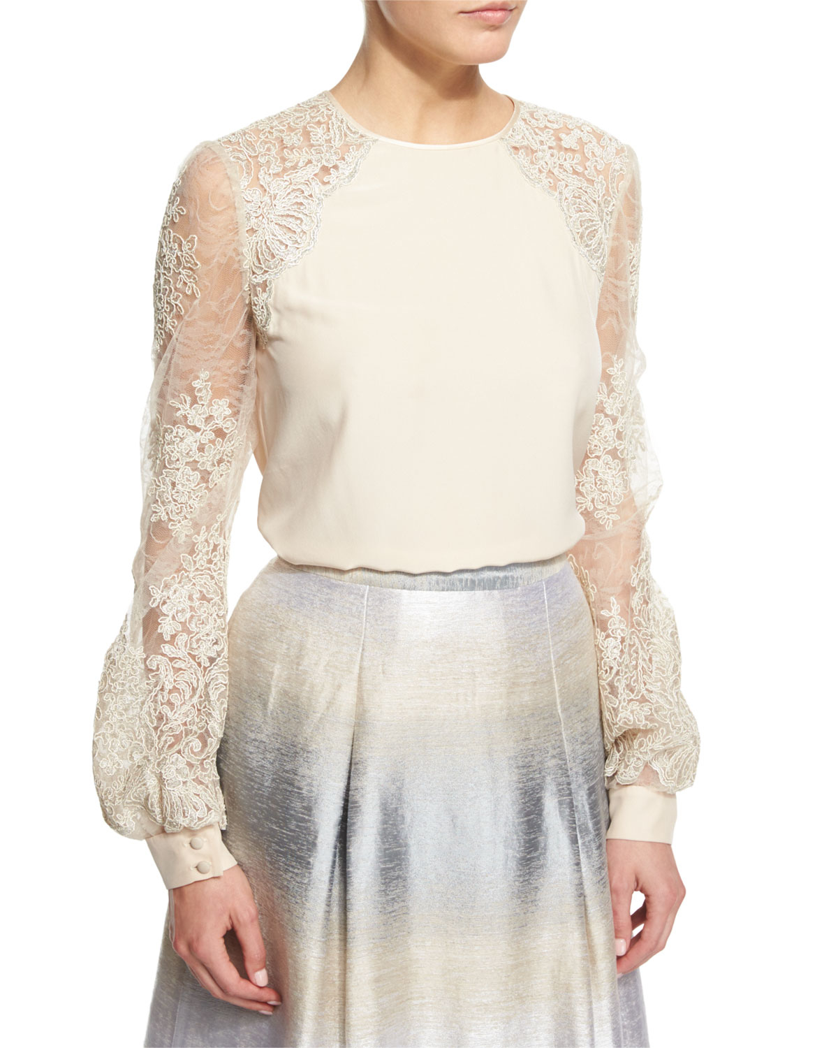 47da2ce3c9ed8 Lyst - Kay Unger Lace-Sleeved Silk Blouse in Metallic