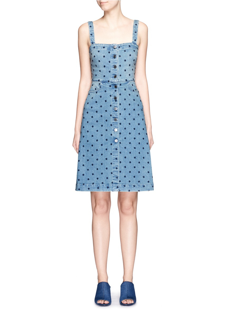 Lyst - Stella Mccartney Star Embroidery Button Front Denim Dress in Blue