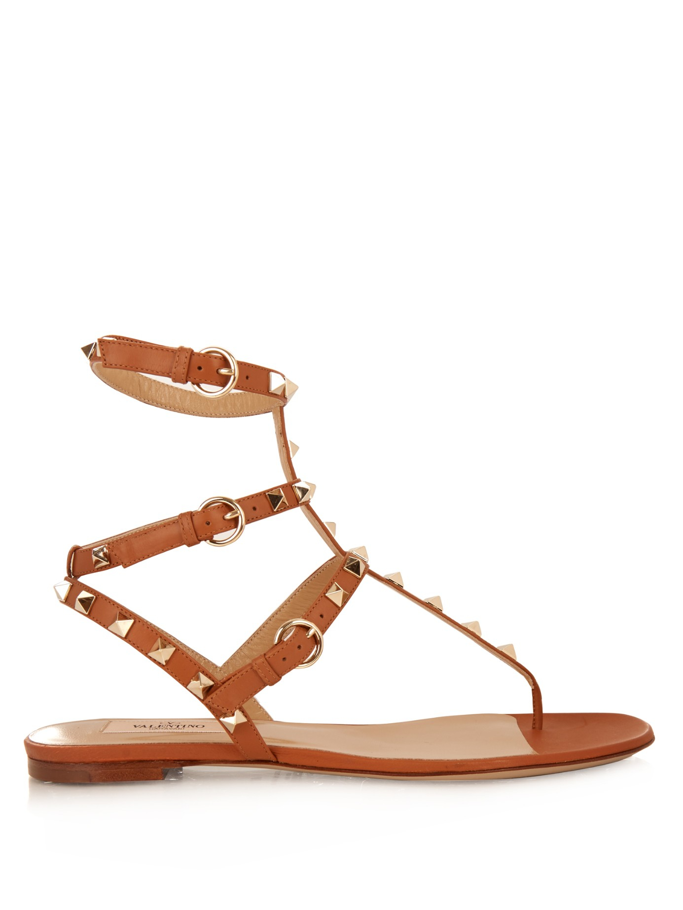 bbcf70da7bbd Valentino Rockstud Leather Sandals in Brown - Lyst