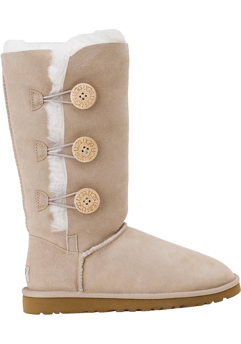 lyst ugg bailey button triplet boot sand suede in natural rh lyst com