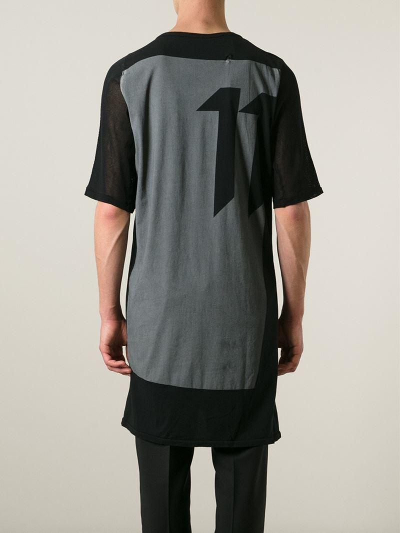 Lyst - Boris Bidjan Saberi 11 Back Print Long T-Shirt in Black for Men 87ba654cbb9