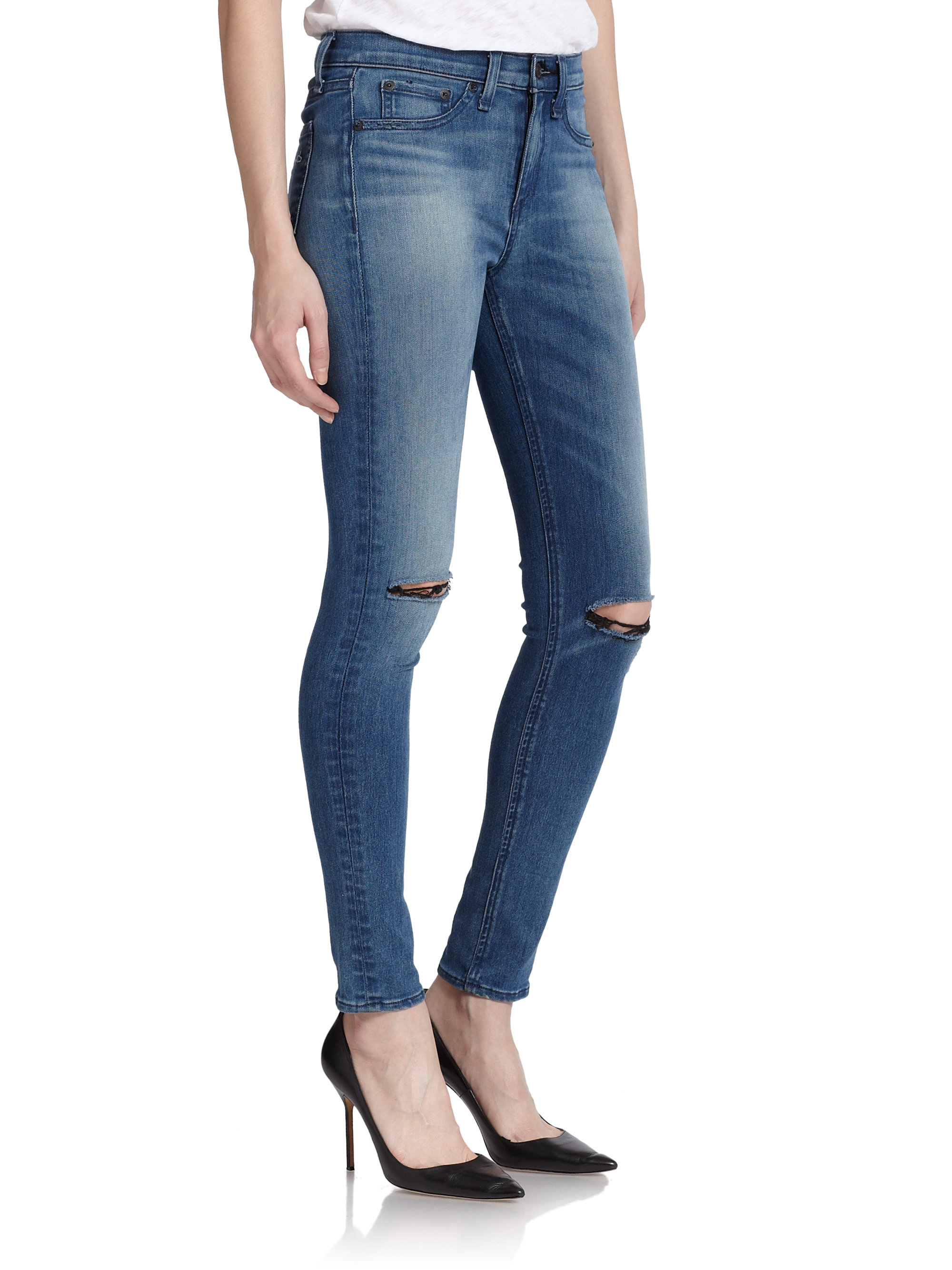 Cheap Sale New Styles Bulk Designs Rag & Bone distressed high waisted skinny jeans Free Shipping Comfortable Shop For Online Free Shipping 2018 Newest RWssd