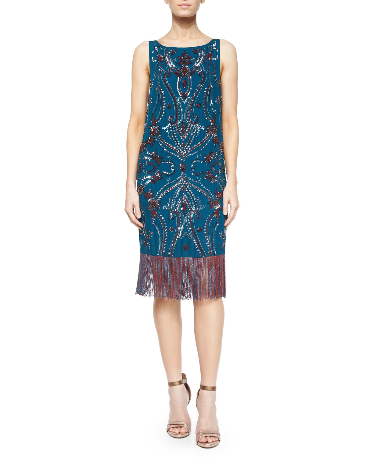 Haute hippie sleeveless embroidered dress w fringe hem in for To have and to haute dress