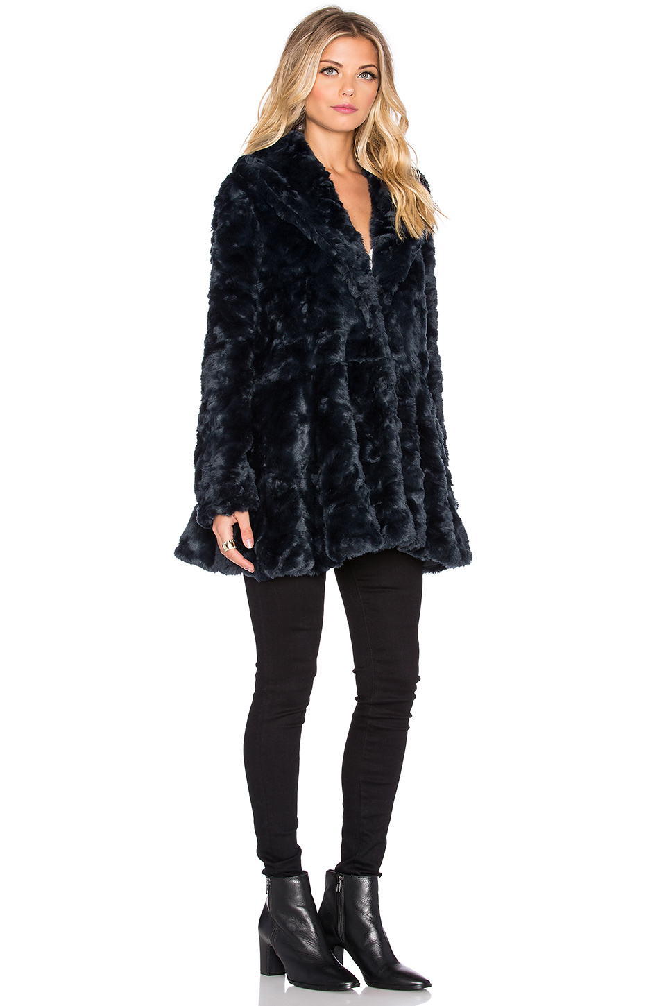 Free People Swingy Faux Fur Coat In Blue Lyst