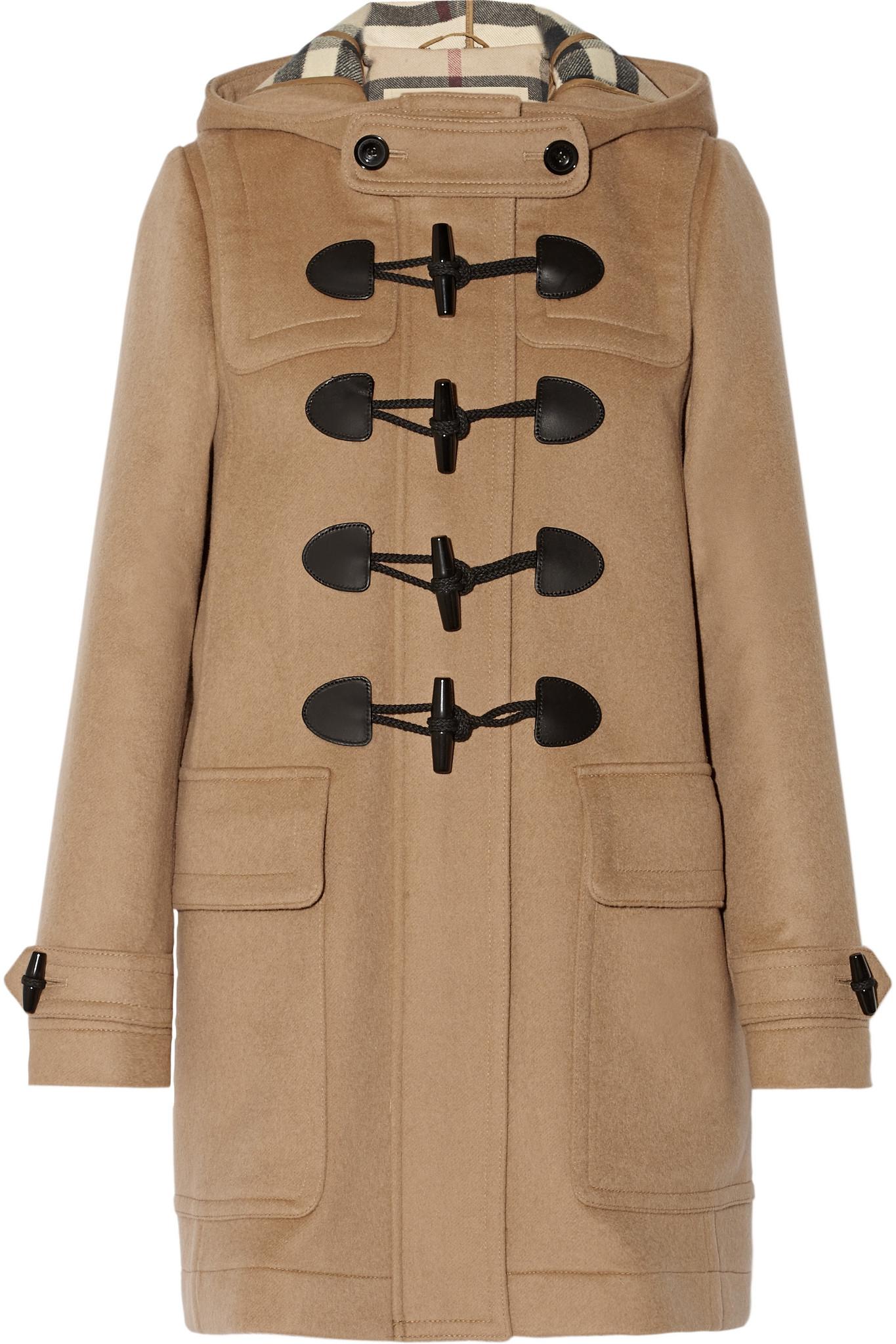 burberry hooded wool felt duffle coat in blue lyst. Black Bedroom Furniture Sets. Home Design Ideas