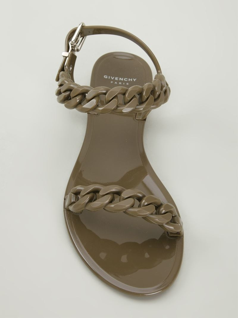 f4725d48e468 Givenchy Chain Link Sandals in Green - Lyst
