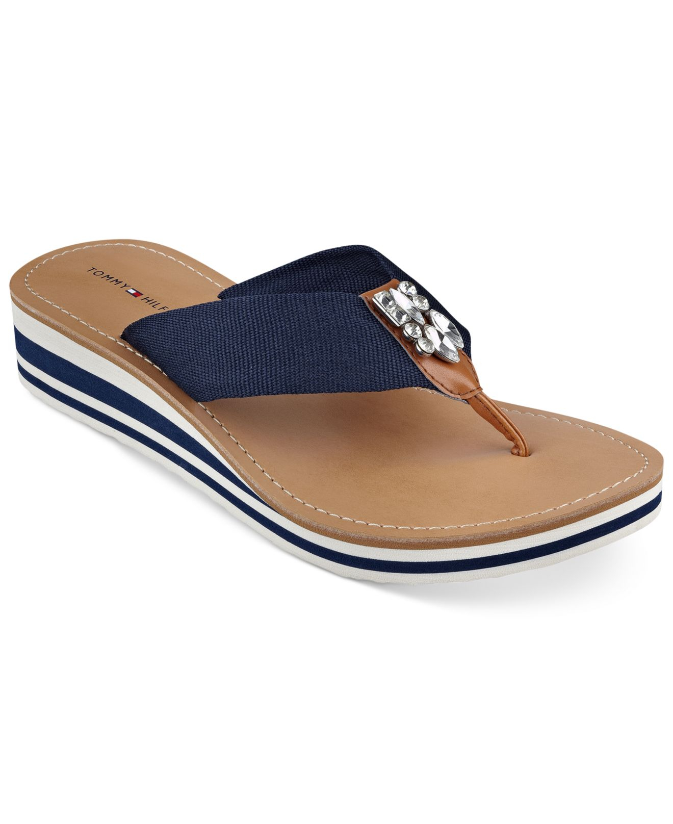 36a8352c7b6 Lyst - Tommy Hilfiger Roxanne Wedge Thong Sandals in Blue
