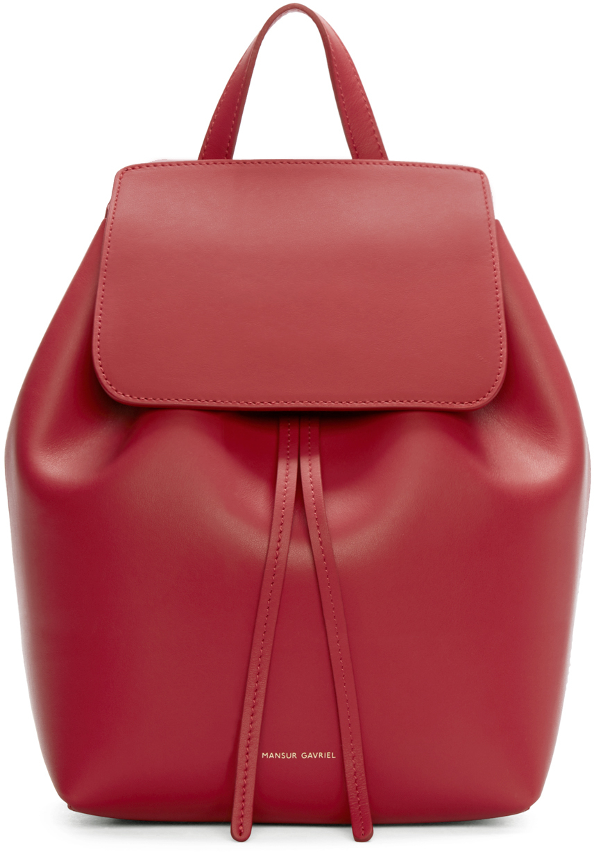 Mansur gavriel Red Leather Mini Backpack in Red | Lyst