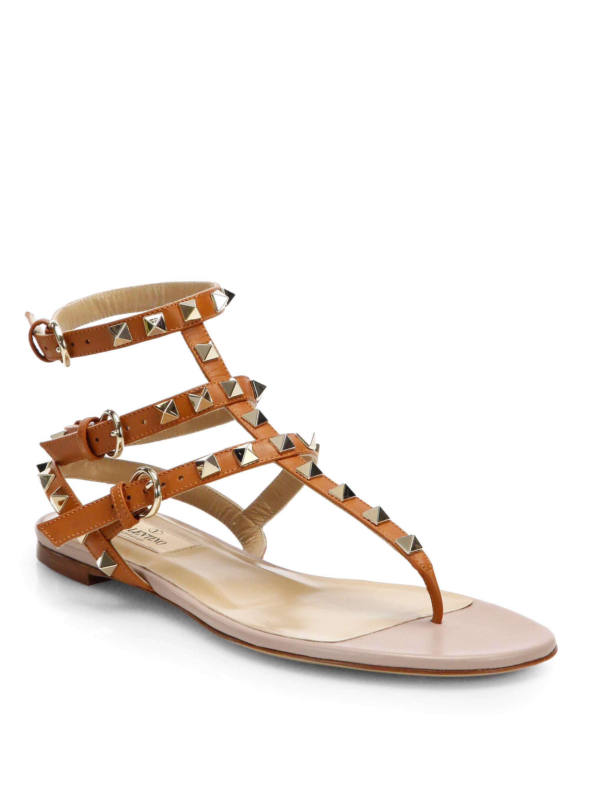 Valentino Rockstud Gladiator Thong Sandals In Brown Lyst