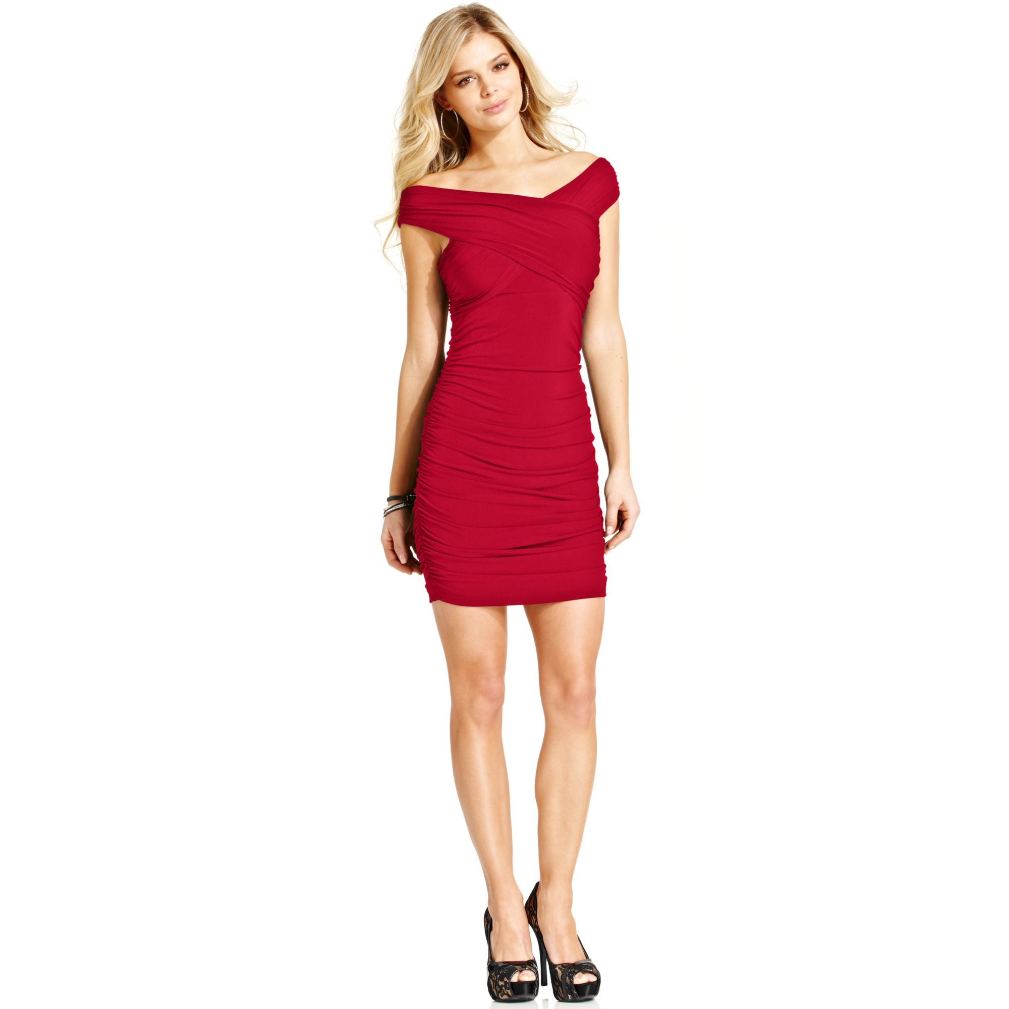 guess ruched dress in lyst
