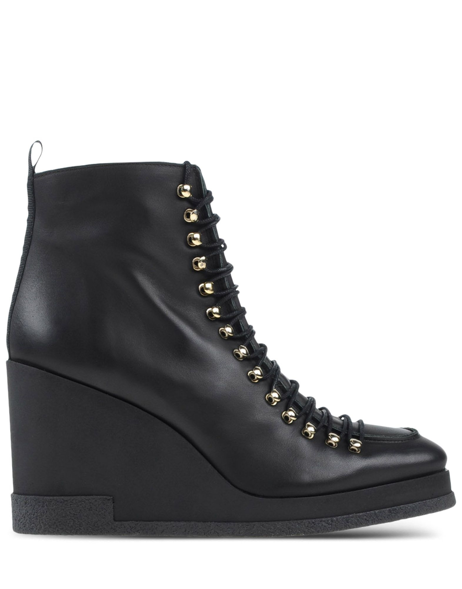 miista leather wedge ankle boots in black lyst