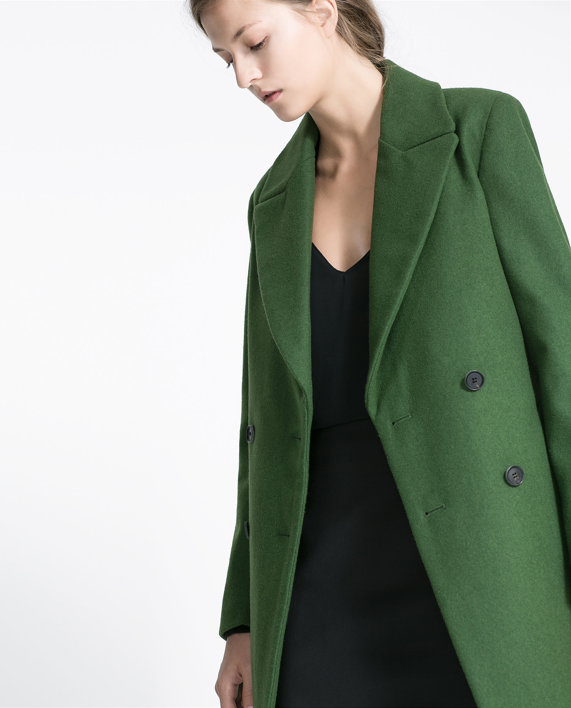 Zara Wool Buttondown Coat in Green | Lyst