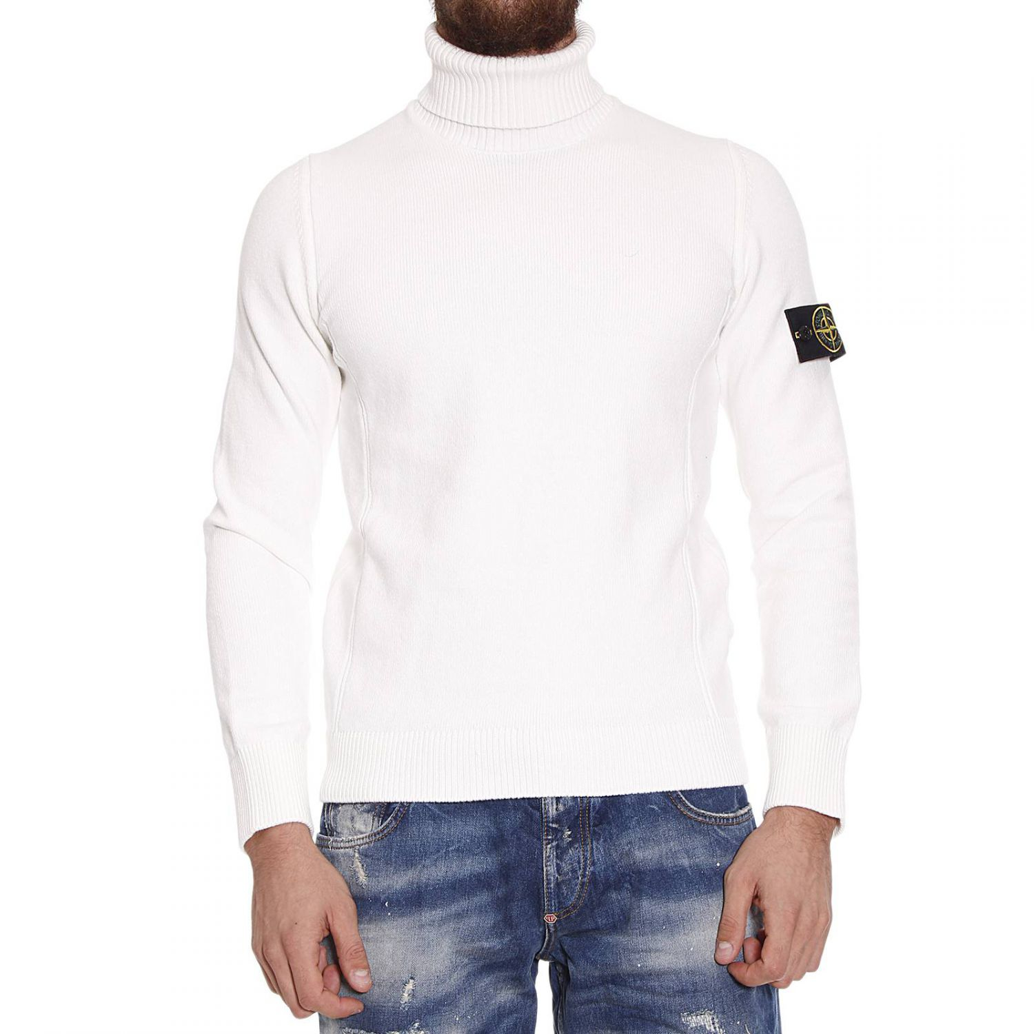 Stone island Sweater Winter Cotton Turtleneck in White for Men | Lyst