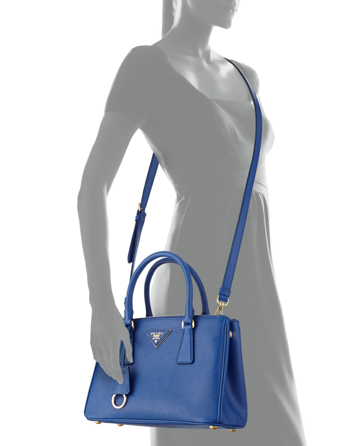 2304422b55a5 ... greece denmark prada saffiano double zip mini crossbody in blue lyst  d5244 c315d a3915 e1823