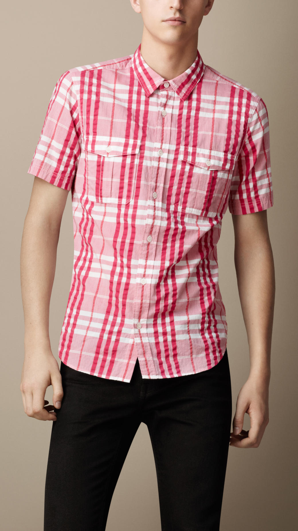 Burberry check cotton seersucker shirt in pink for men for Mens seersucker shirts on sale