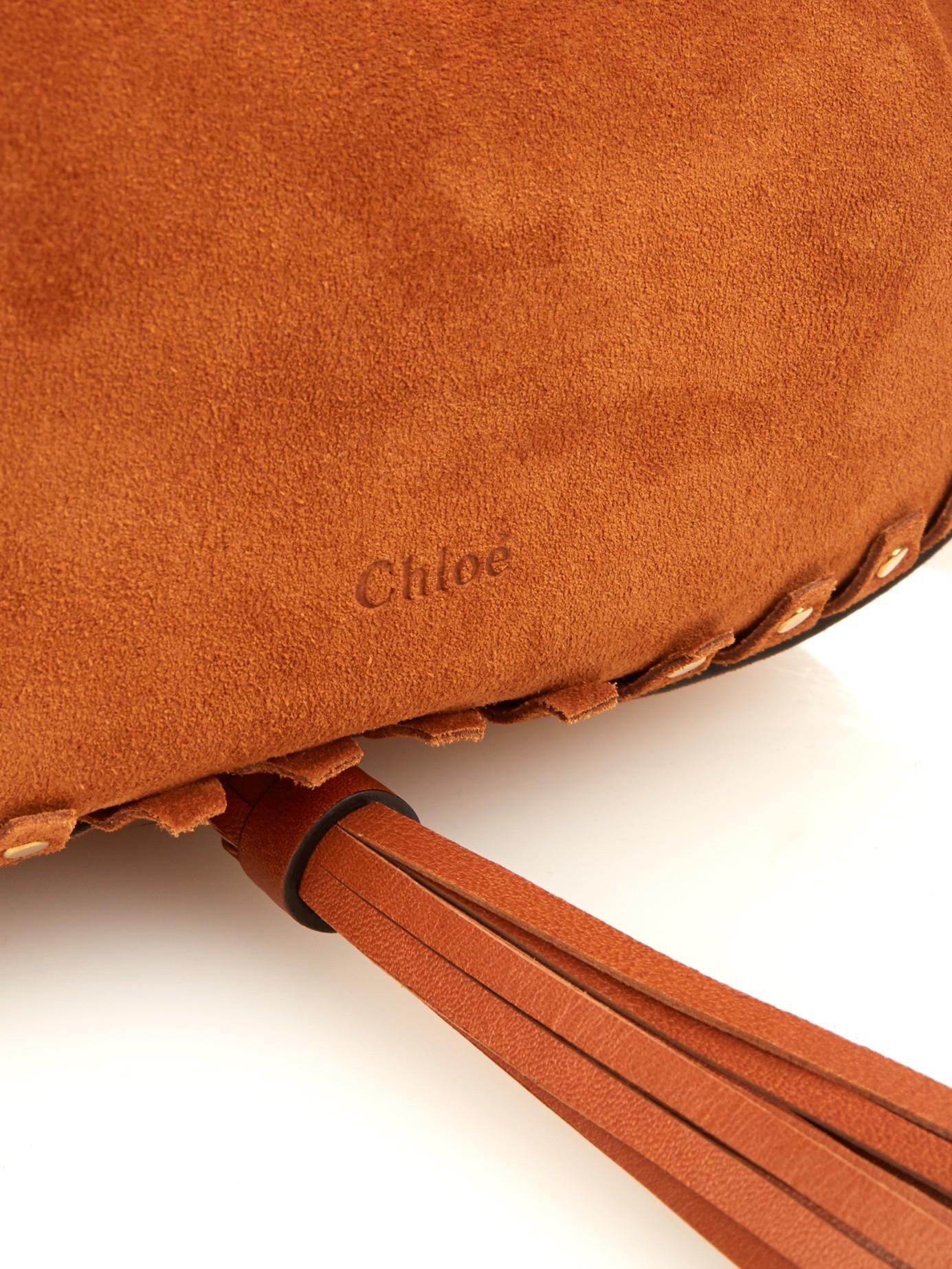Chlo�� Inez Studded-trim Suede Cross-body Bag in Brown (TAN) | Lyst