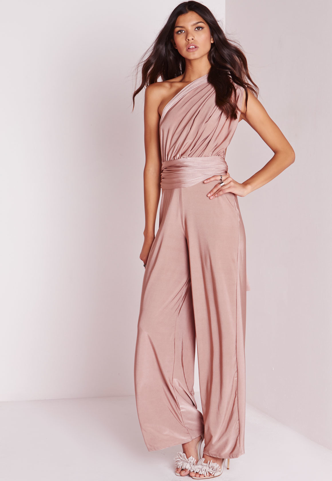 0a2bda1888d7 Lyst - Missguided Do It Anyway Multiway Slinky Jumpsuit Pink in Pink