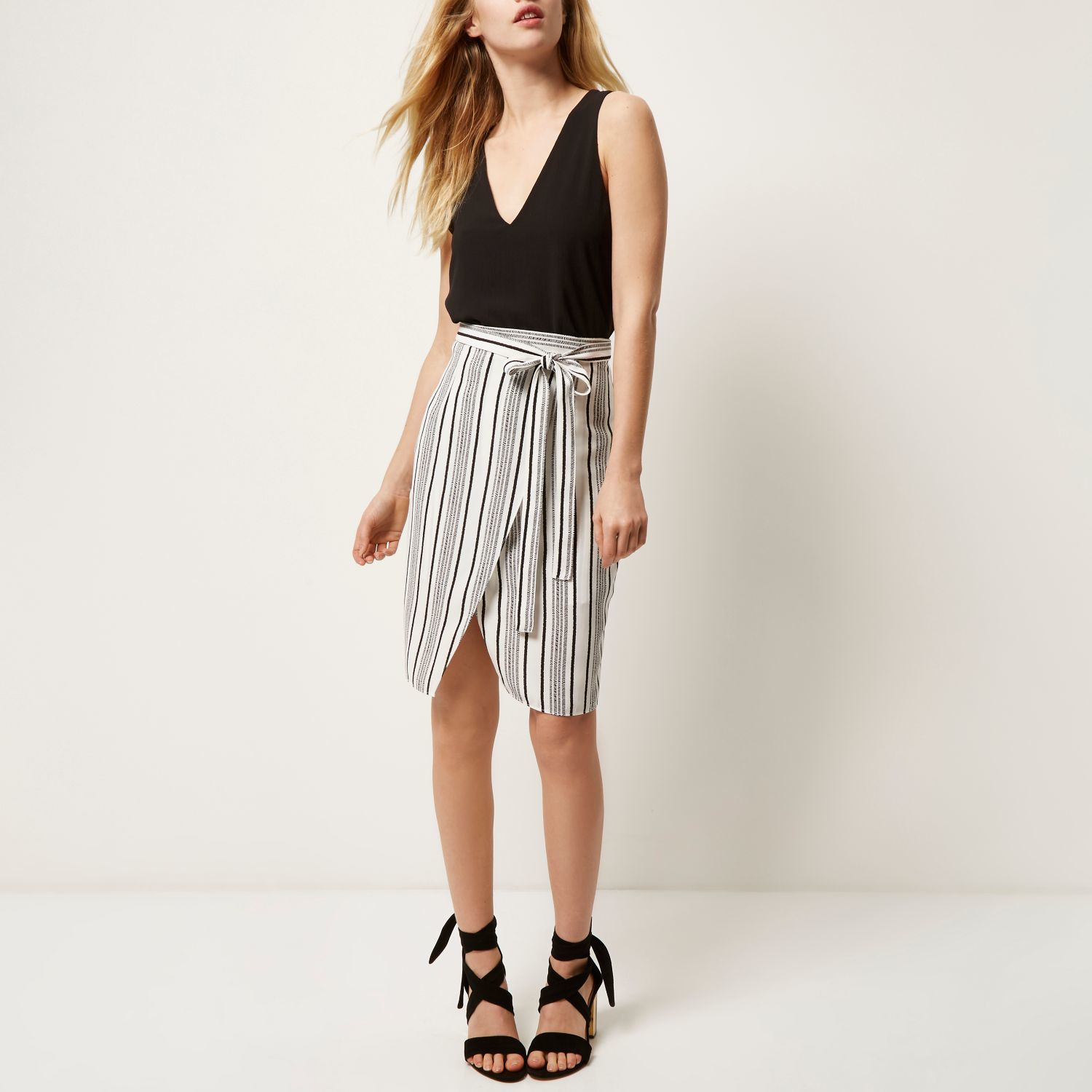 River island Black Stripe Tie Wrap Midi Skirt in Black | Lyst
