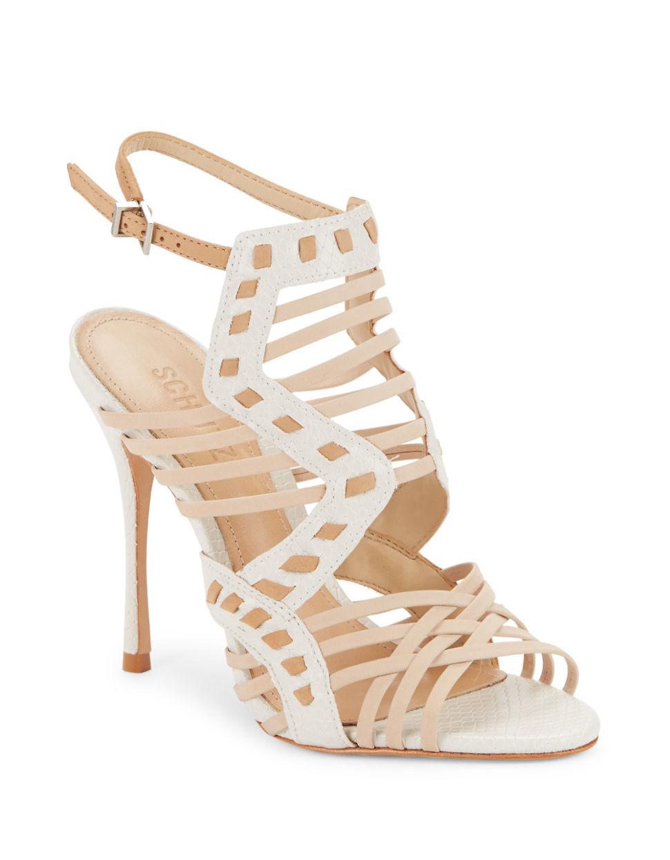 schutz tamiris leather cage heels in white lyst