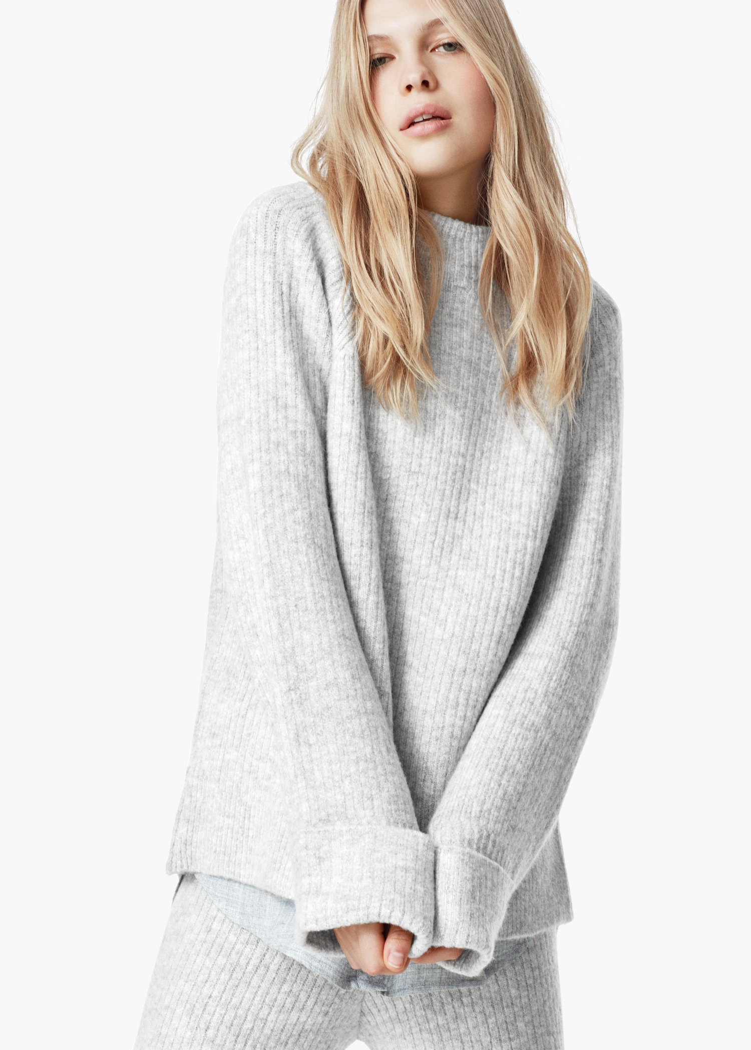 Mango Oversize Sweater in Gray | Lyst