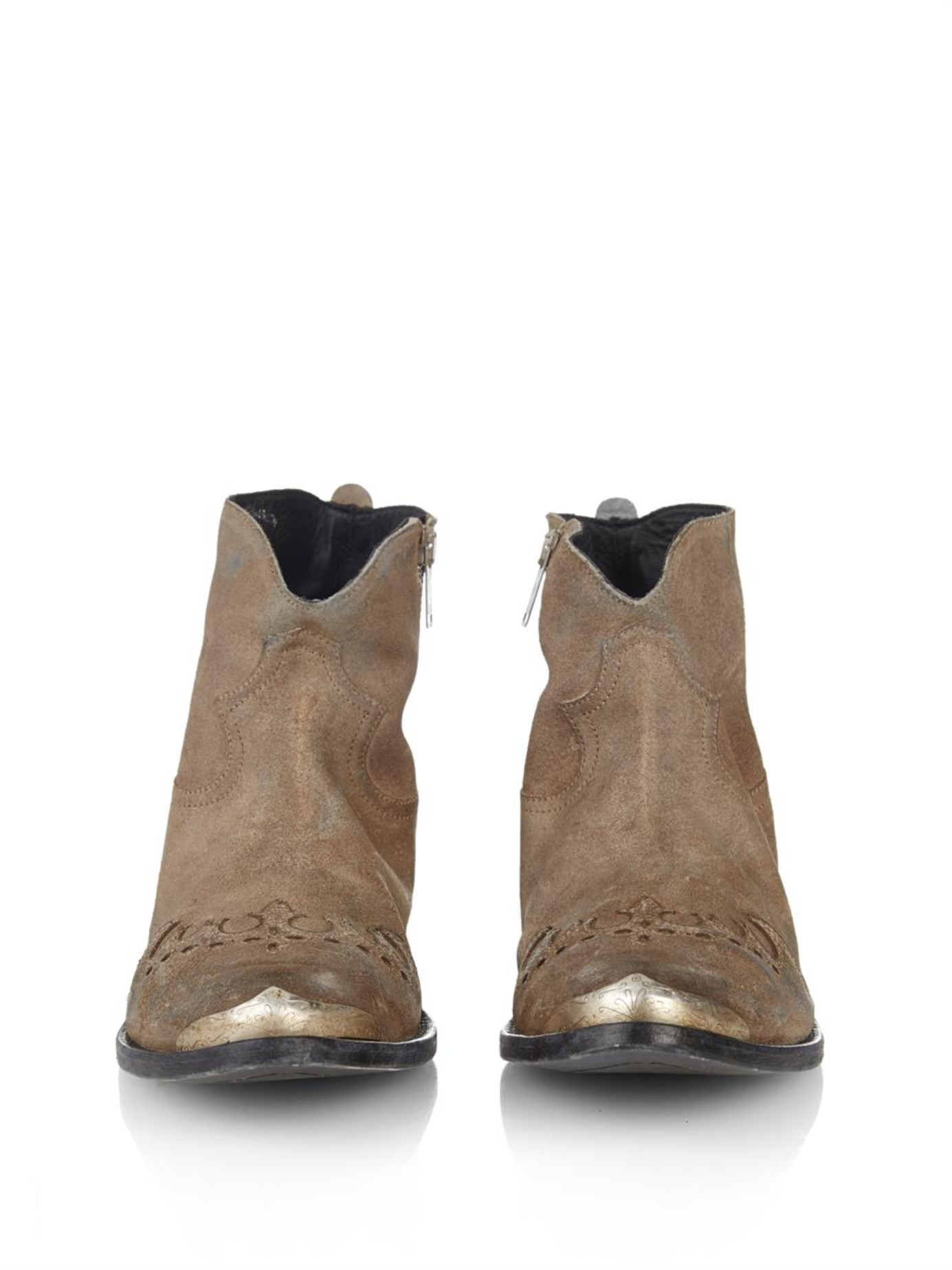 Golden goose deluxe brand Myth Suede Western Ankle Boots in Gray ...