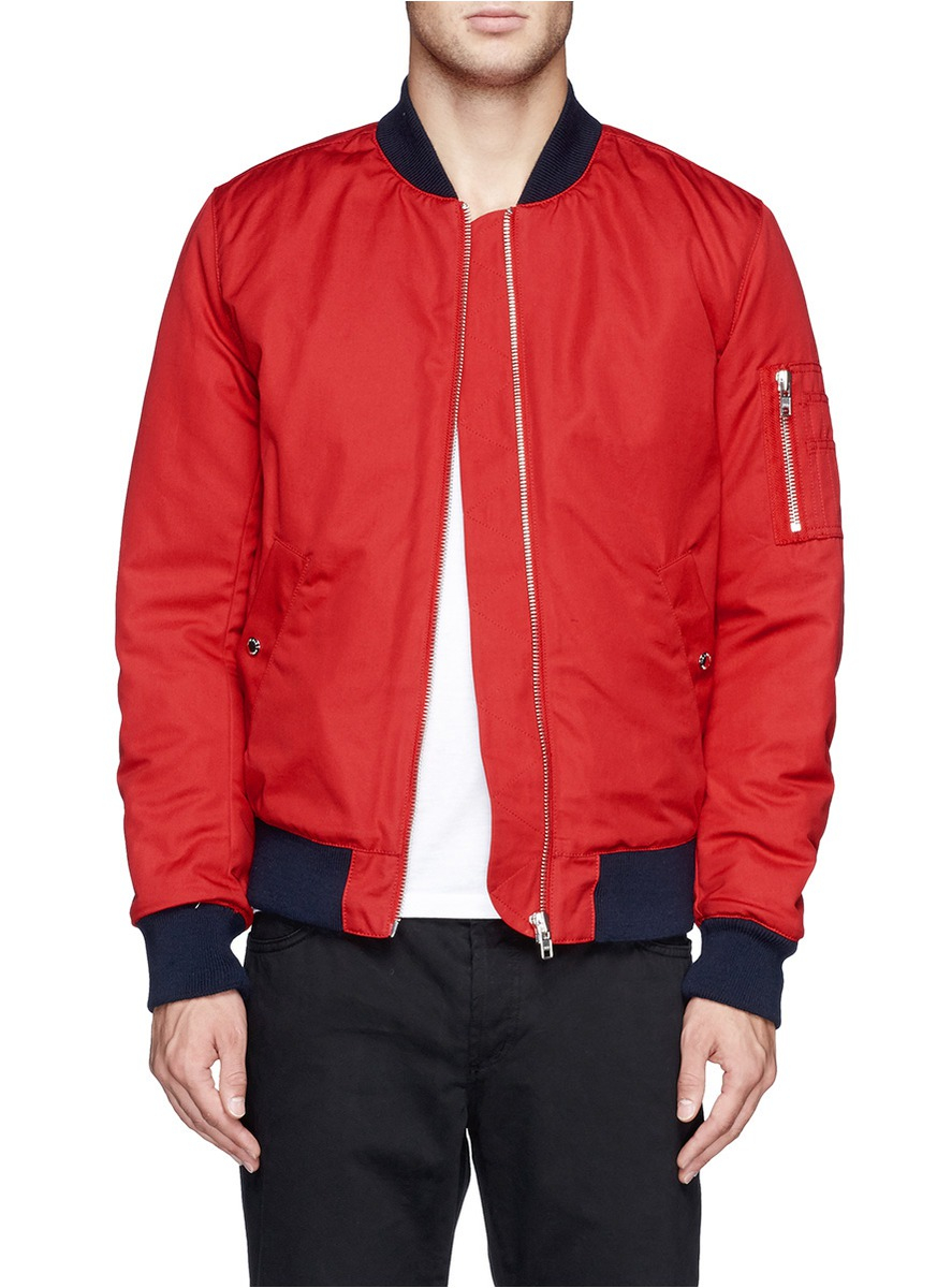 Maison kitsuné Cotton Bomber Jacket in Red for Men | Lyst