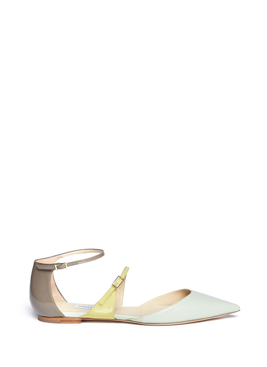 7628e4e59aee Lyst - Jimmy Choo  terry  Double-strap Point Toe Flats in Natural