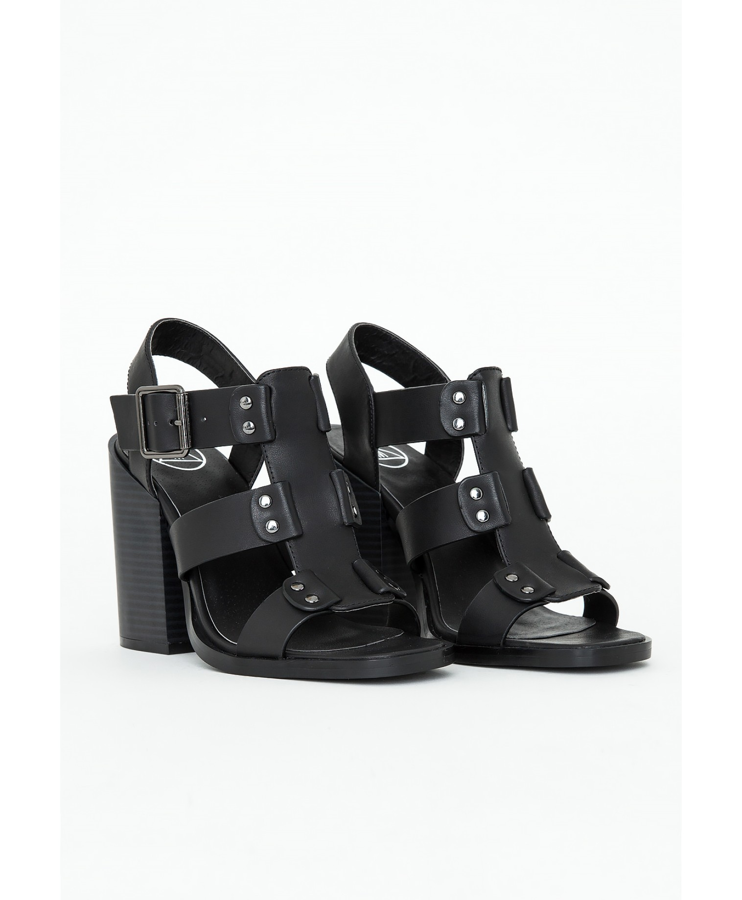 Black Block Heel Gladiator Sandals
