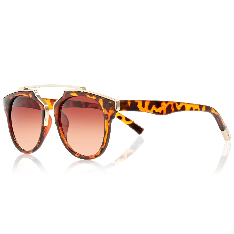 Brow Bar Sunglasses  river island brown tortoise round brow bar sunglasses in brown lyst