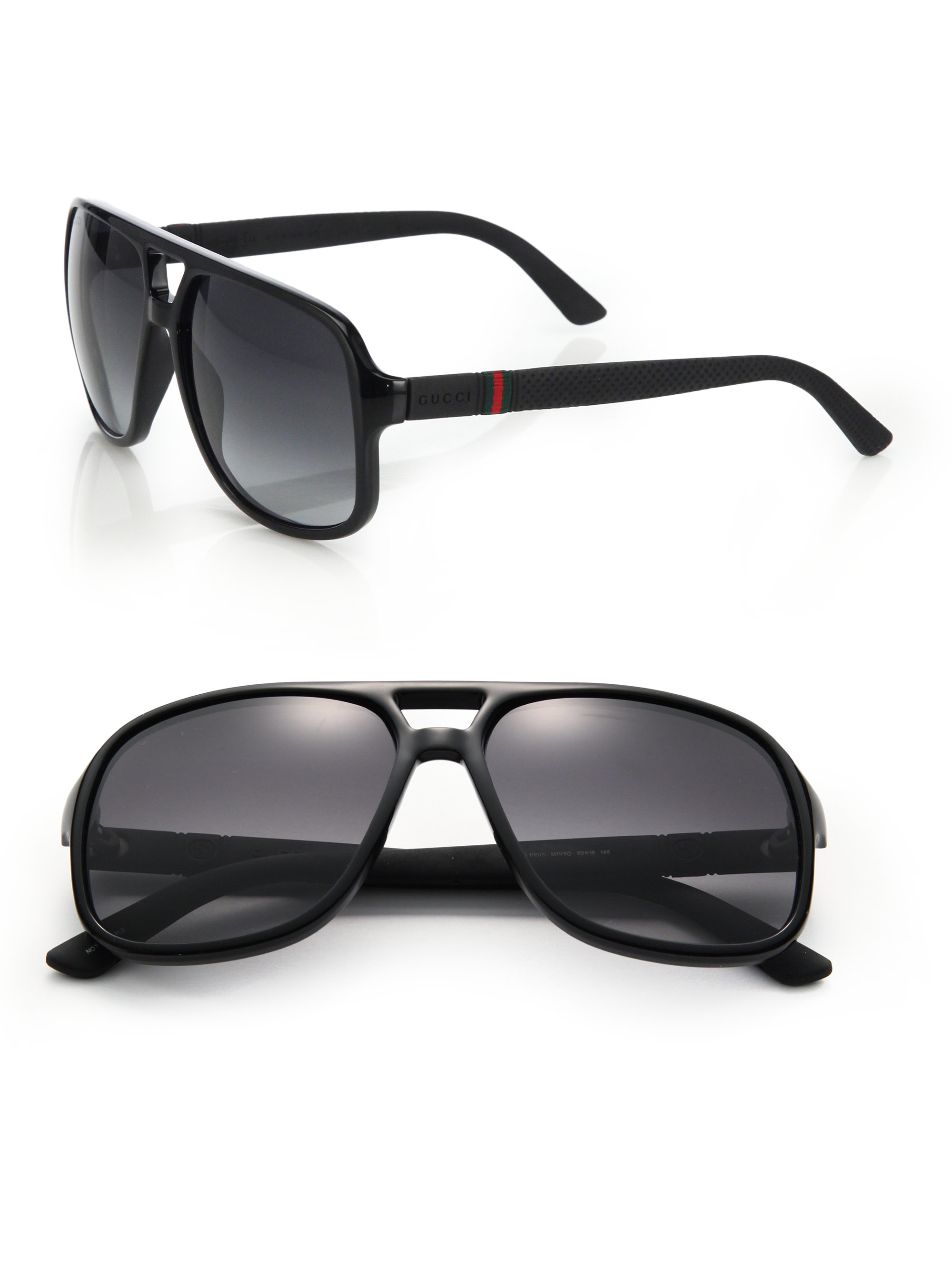 5ecd8bd548 Lyst - Gucci 1115 59mm Mirror Aviator Sunglasses in Black for Men