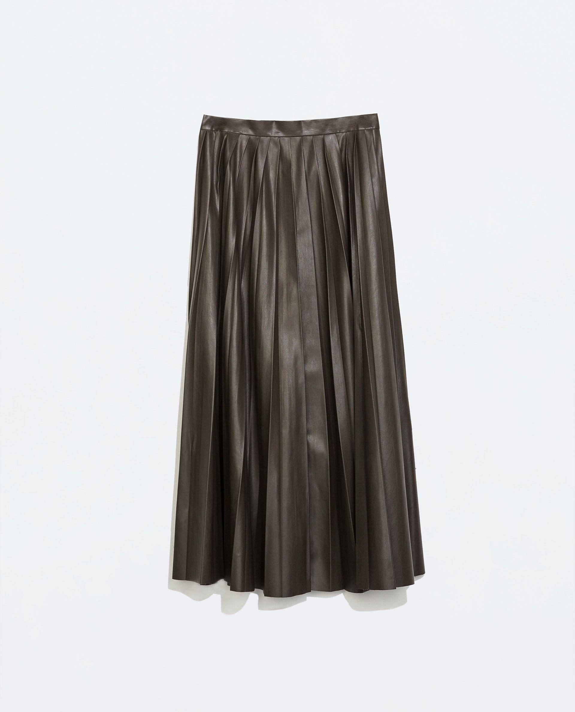 Zara Leather-Effect Long Skirt in Green | Lyst
