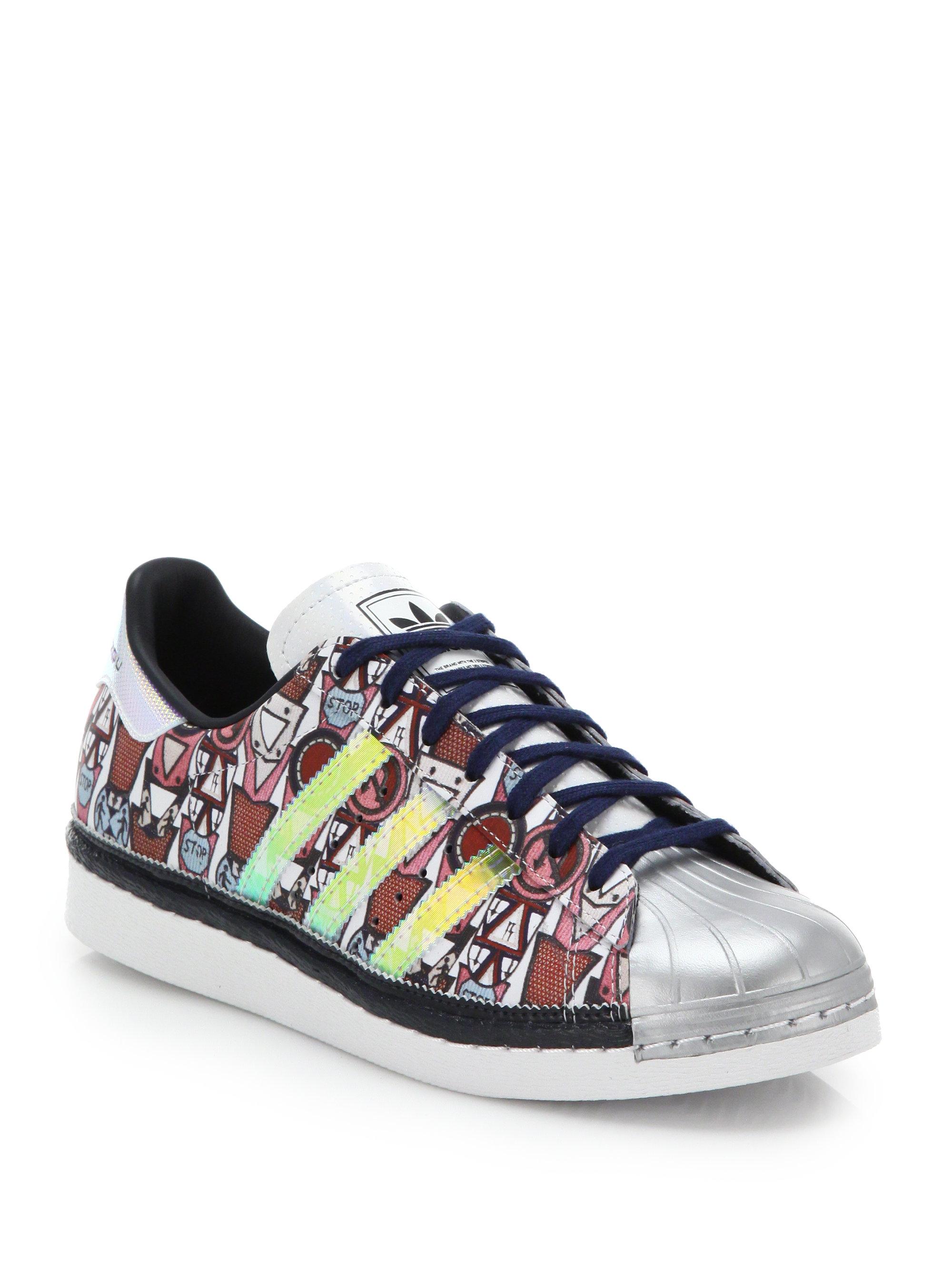 Lyst - adidas Originals Badge-print Shell-toe Sneakers in Gray 9e5de0fab
