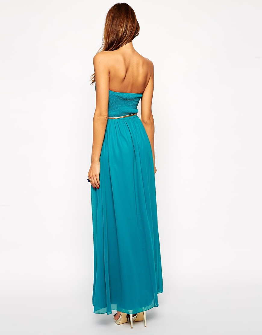 bandeau pleated maxi dress with gold belt