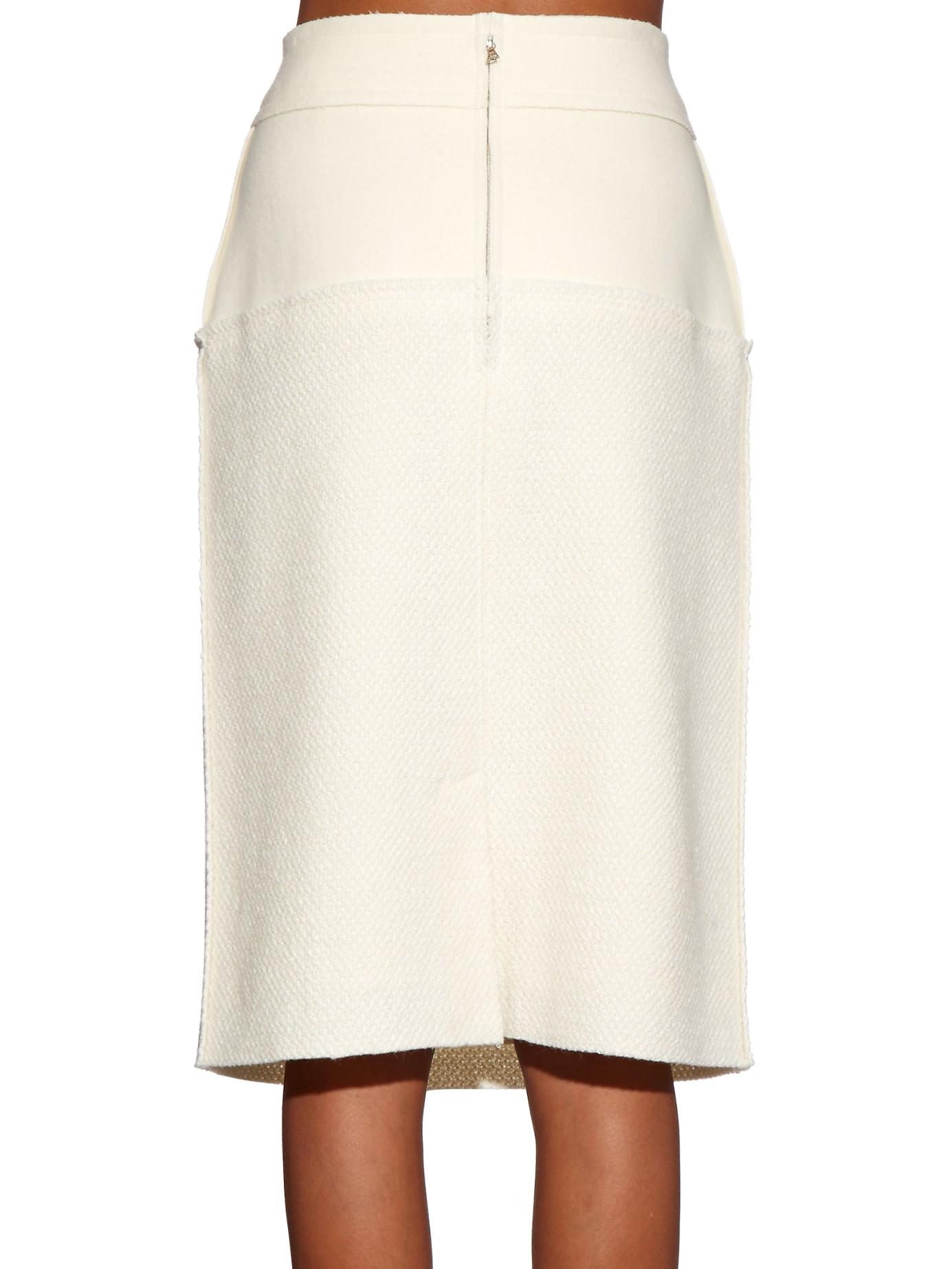 Oscar de la renta High-rise Wool Pencil Skirt in Natural | Lyst