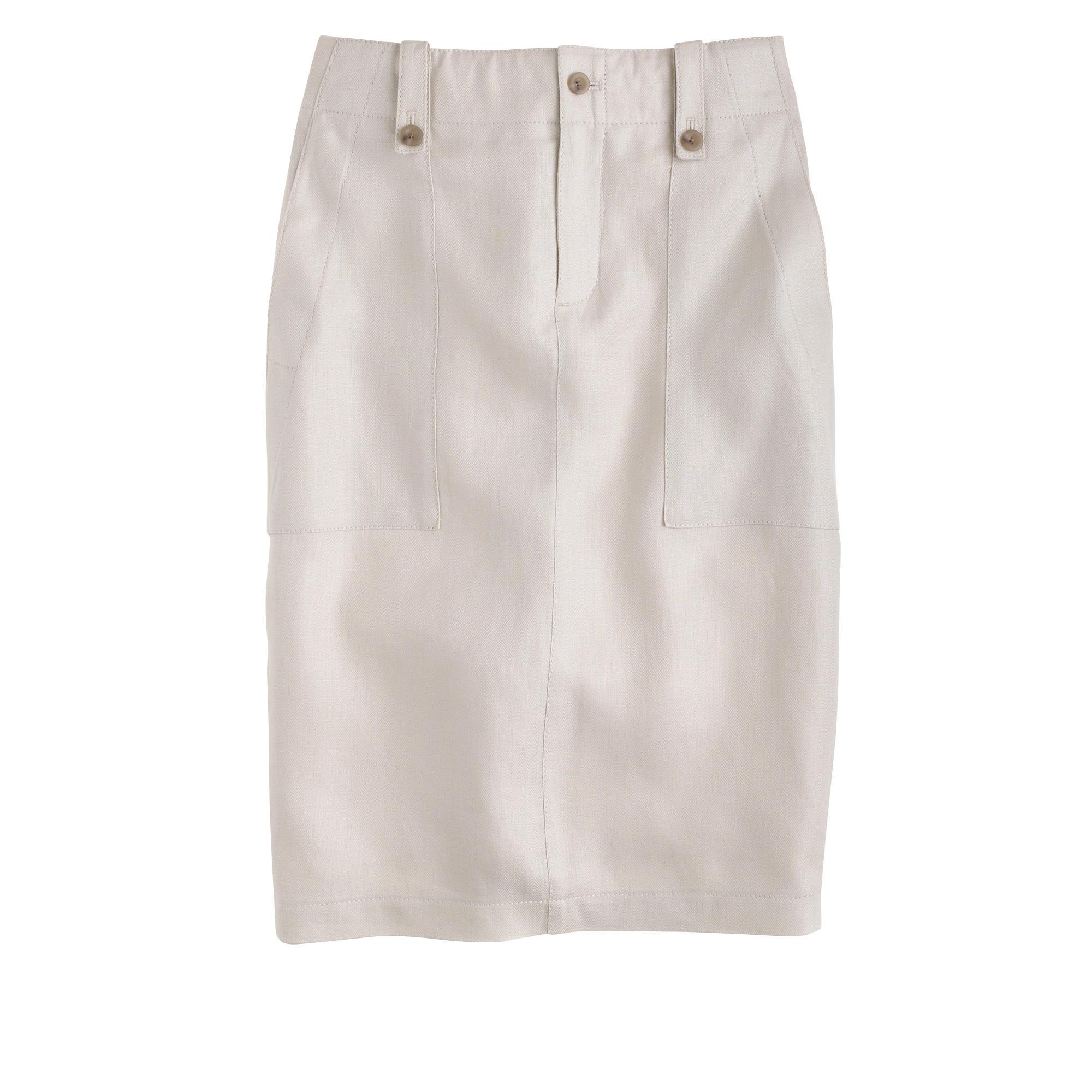j crew linen cargo pencil skirt in white ecru lyst