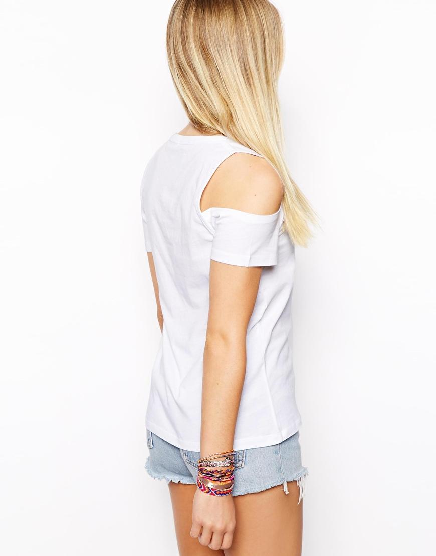 lyst asos exclusive v neck t shirt with cold shoulder in. Black Bedroom Furniture Sets. Home Design Ideas