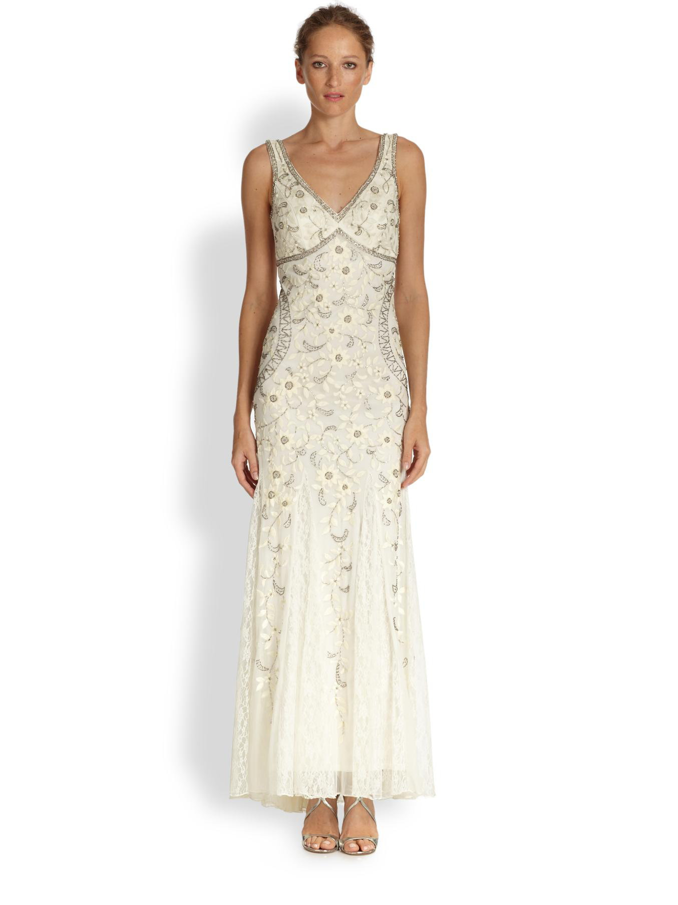 Sue wong Beaded & Floral Embroidered Tulle Gown in White | Lyst