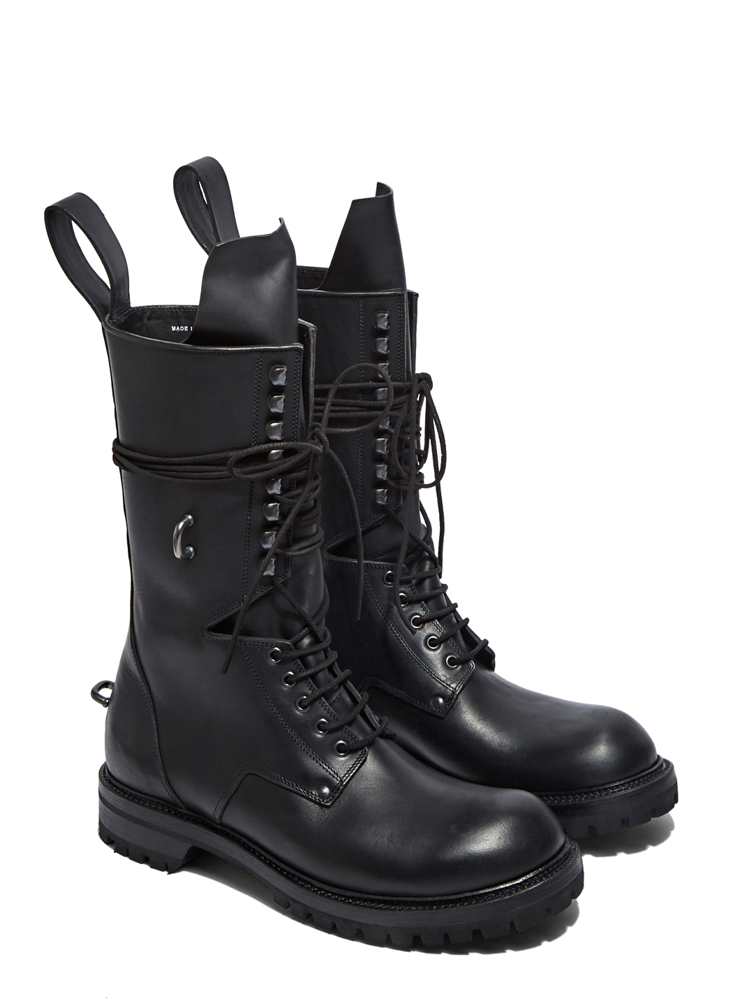 Rick Owens Mens Elastic Long Chunky Lace up Boots In