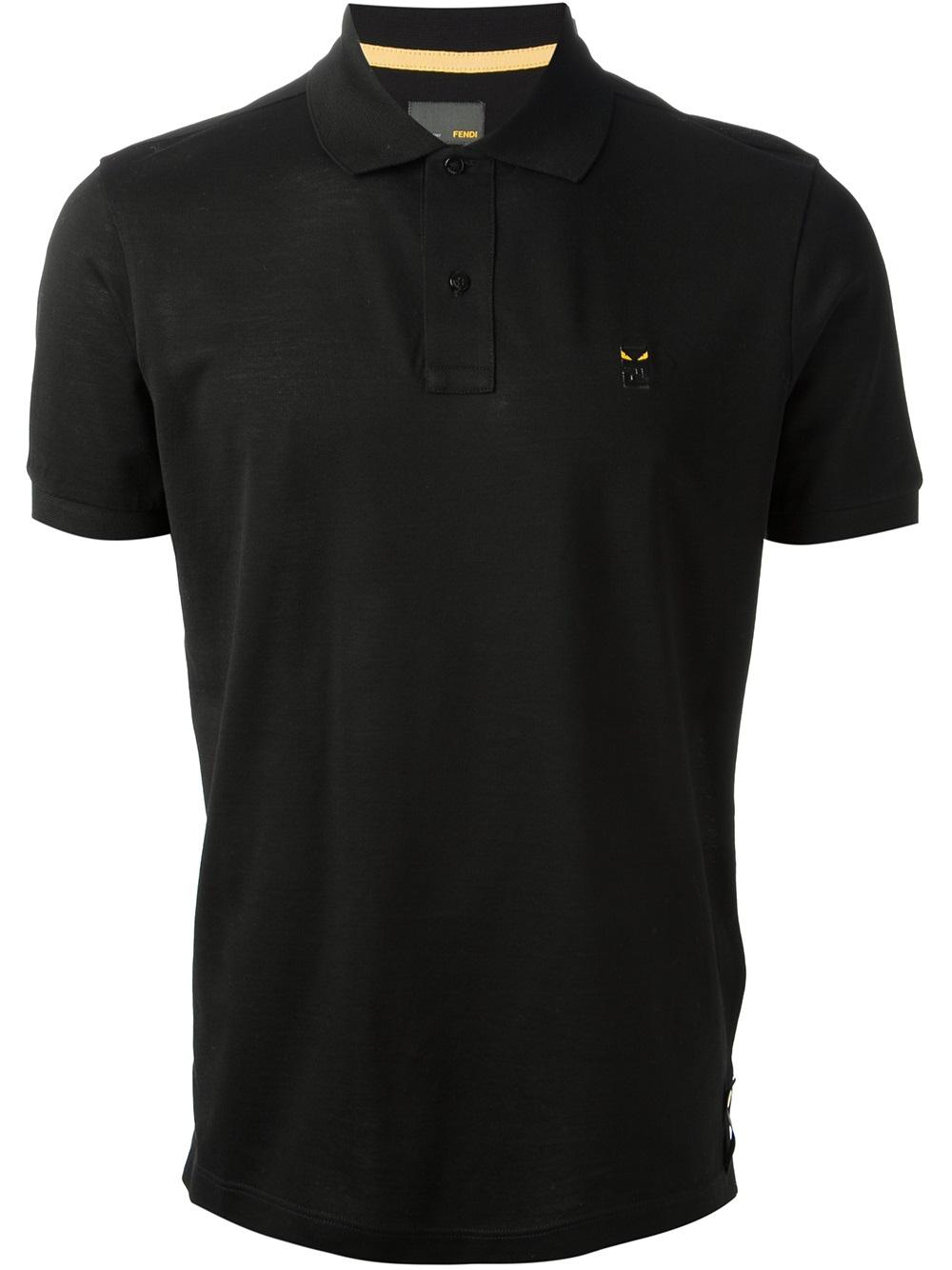 Lyst Fendi Short Sleeve Polo Shirt In Black For Men