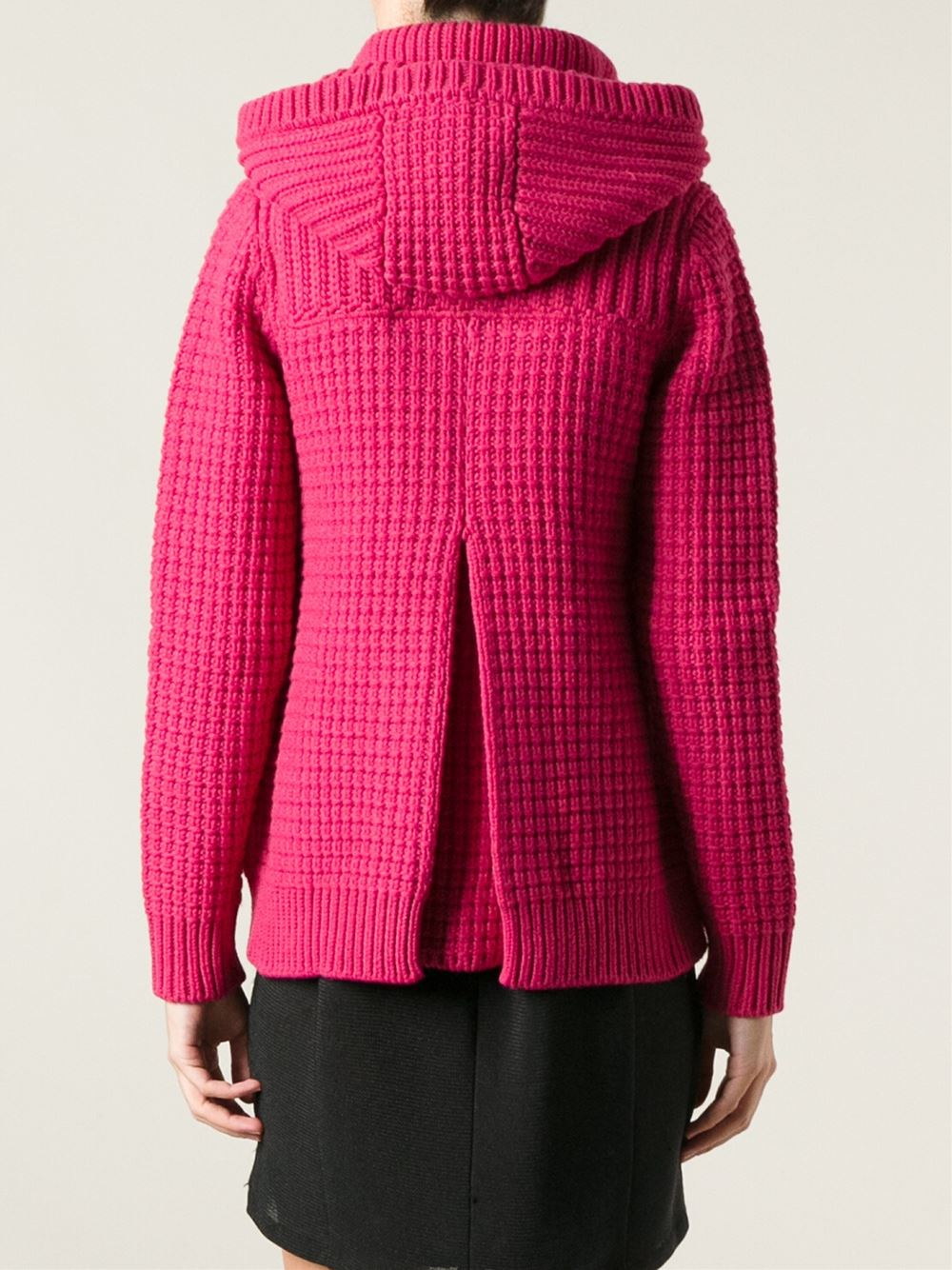 Bark Knitted Duffle Coat in Pink | Lyst