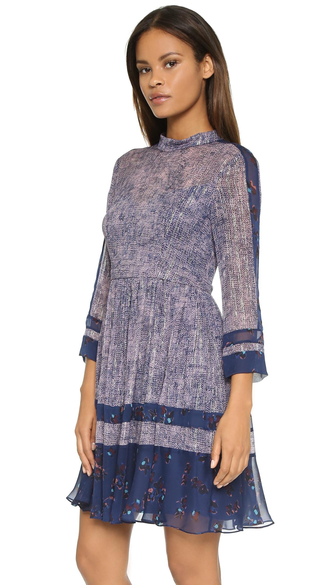 7ed403640ef Lyst - Rebecca Taylor Static Print Silk Dress - Dewberry Combo in Blue