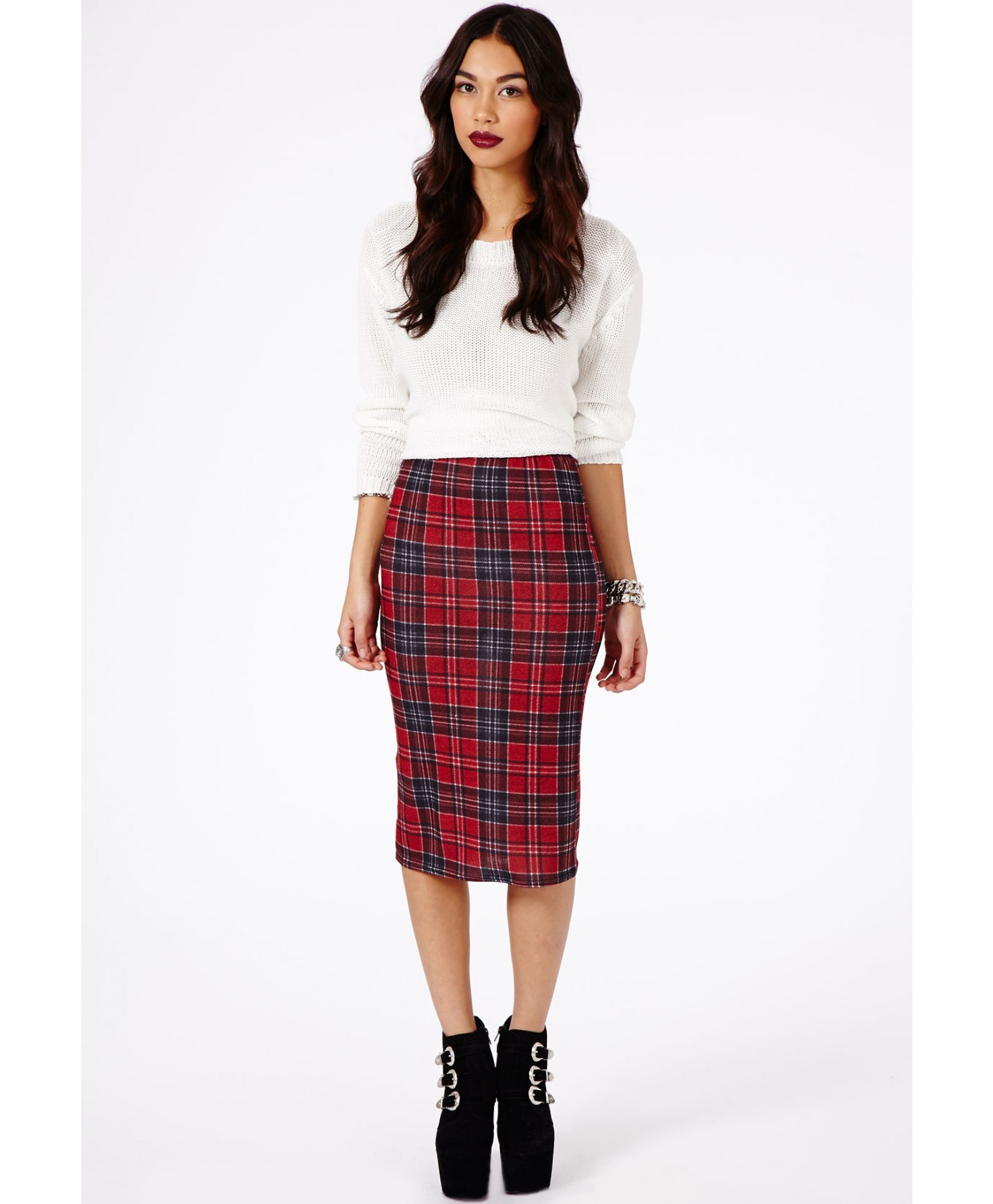 Missguided Amalize Tartan Midi Pencil Skirt in Burgundy in Red | Lyst